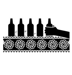 Black bottles of beers in the factory icon image vector