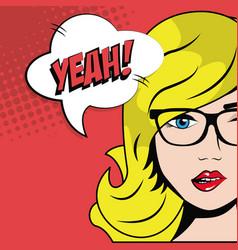 blonde girl glasses bubble speech pop art comic vector image