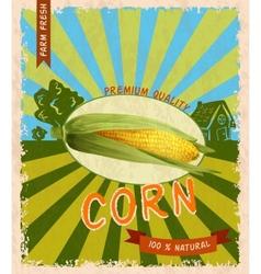 Corn retro poster vector