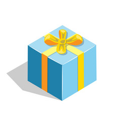 flat isometric gift box icon with bow vector image vector image