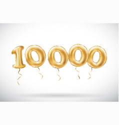 Golden number 10000 ten thousand metallic balloon vector