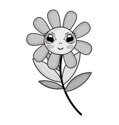 Grayscale kawaii cute flower plant with big eyes vector