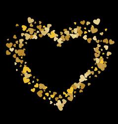 Heart shape gold confetti splash with black heart vector