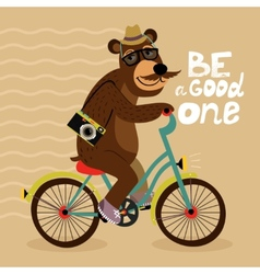 Hipster poster with geek bear vector