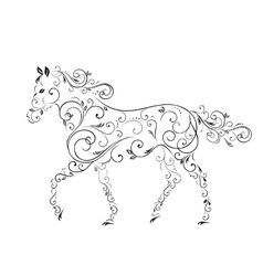 Horses from curls vector image vector image