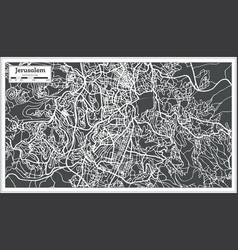 Jerusalem israel city map in retro style vector