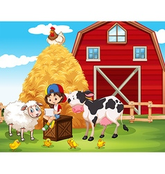 Little girl using tablet at the farm vector