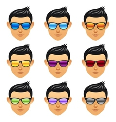Male boy head with sunglasses vector image