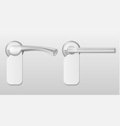 metal hotel door handle lock with white blank vector image