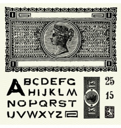old world currency and font vector image vector image