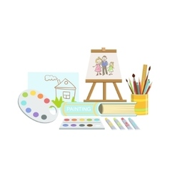 Painting Class Set Of Objects vector image vector image