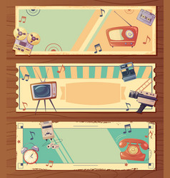 Retro devices horizontal banners vector