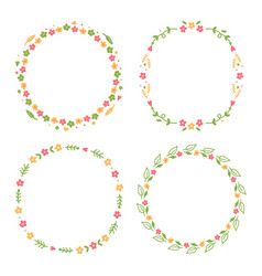 set collection of beautiful floral round frames vector image
