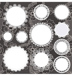 Set of round lacy doilies vector image