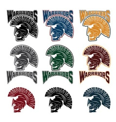 Set of skull in spartan helmetwarriors emblems vector