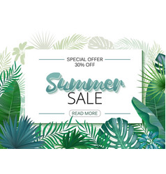summer sale banner poster realistic tropical vector image vector image