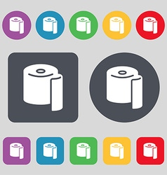 Toilet paper icon sign a set of 12 colored buttons vector