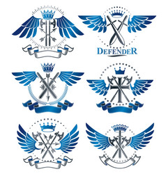 Vintage weapon emblems set heraldic coat of arms vector