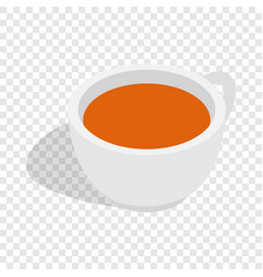 White cup of tea isometric icon vector