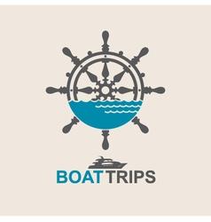 yacht helm wheel vector image