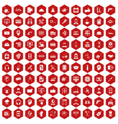 100 support icons hexagon red vector