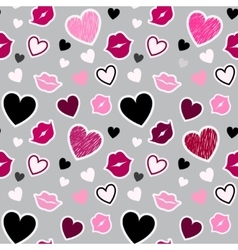 Pattern with kisses and hearts vector