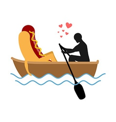 Man and hot dog in boat ride lovers of sailing man vector