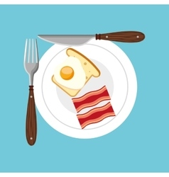 Delicious breakfast menu icon vector