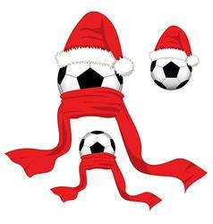 Soccer ball christmas day santa hat vector