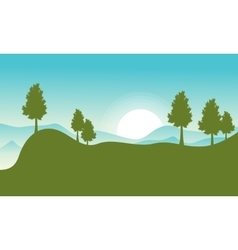 Flat of hill with sun landscape vector