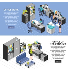 Office workplaces banners set vector