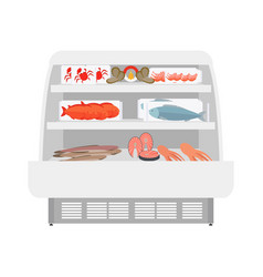Fish and seafood products in store vector