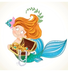 Cute little mermaid holding a treasure chest vector