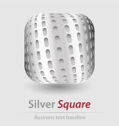 Silver square elegant icon vector