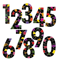 Creative brick number alphabet font style vector image
