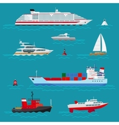 Sea ships flat icons vector