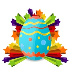 easter egg on the colored stars vector image