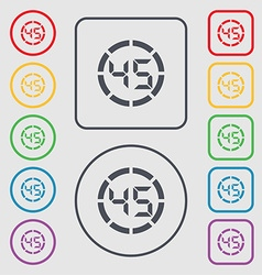 45 second stopwatch icon sign symbols on the round vector