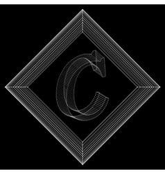 Letter c fonts of mesh vector