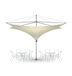 Blank inversed lounge restaurant umbrella parasol vector
