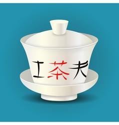 Chinese traditional tea bowl gaiwan vector