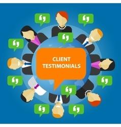 Client testimonials consumer feedback service vector
