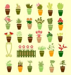 Collection colorful silhouette of garden flowers vector image