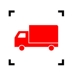 delivery sign red icon vector image vector image