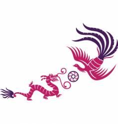 Dragon phoenix oriental vector