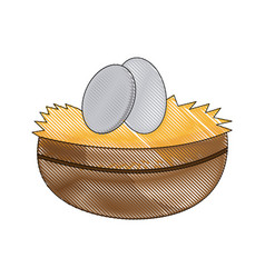 Easter bowl egg celebration image vector