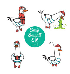 Emoji seagull set part 3 vector