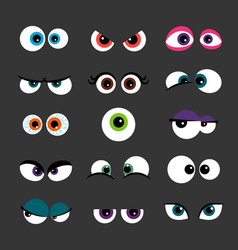 eyes set funny comic monster vector image