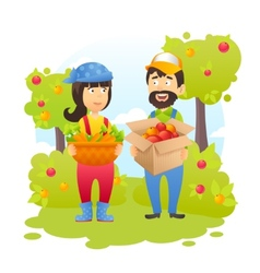 Farmers In Garden vector image
