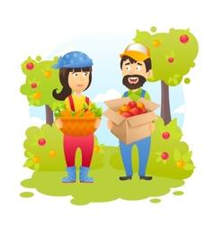 Farmers in garden vector